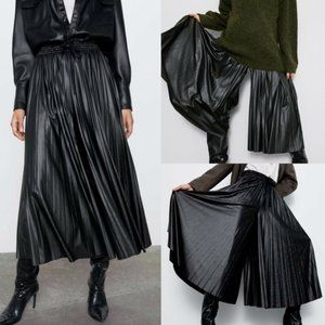 Zara Pleated Faux Leather Culottes Trouser Pants